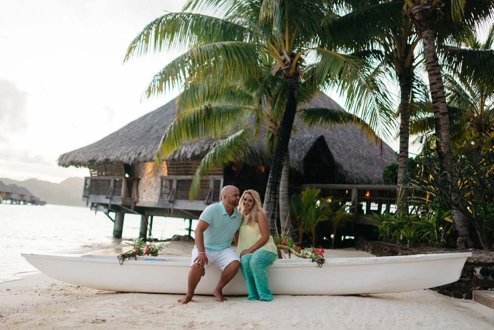 Destination wedding photography at the Four Seasons resort in Bora Bora
