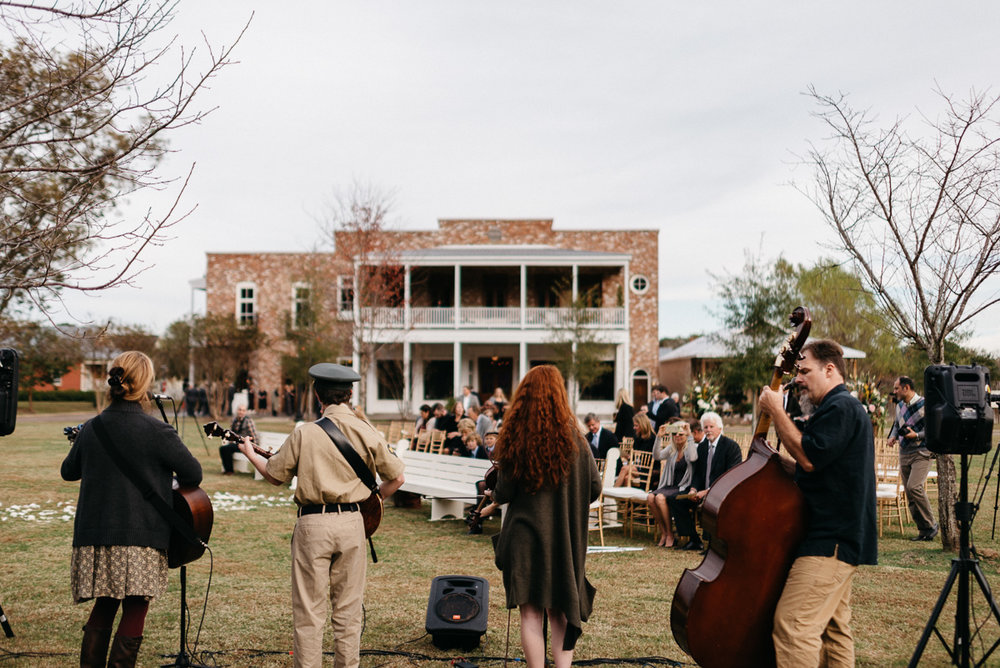 The Eisenhauer Band performing at a wedding at the mill at plein air in taylor ms