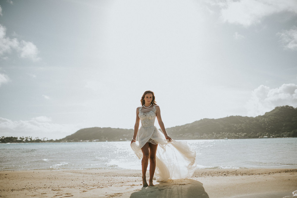 stylized bridal photography at sofitel bora bora private motu. dress by galia lahav, jewelry by robert wan, and modeling by charlotte durgeat