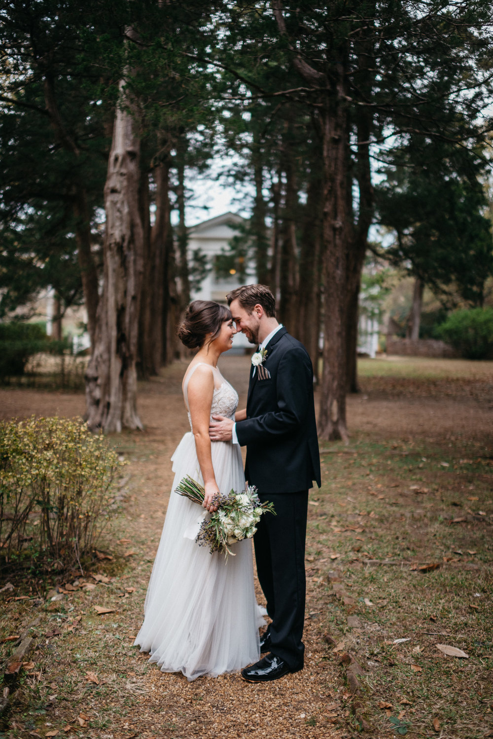 Elopement photography on the grounds at Rowan Oak, Faulkner's home