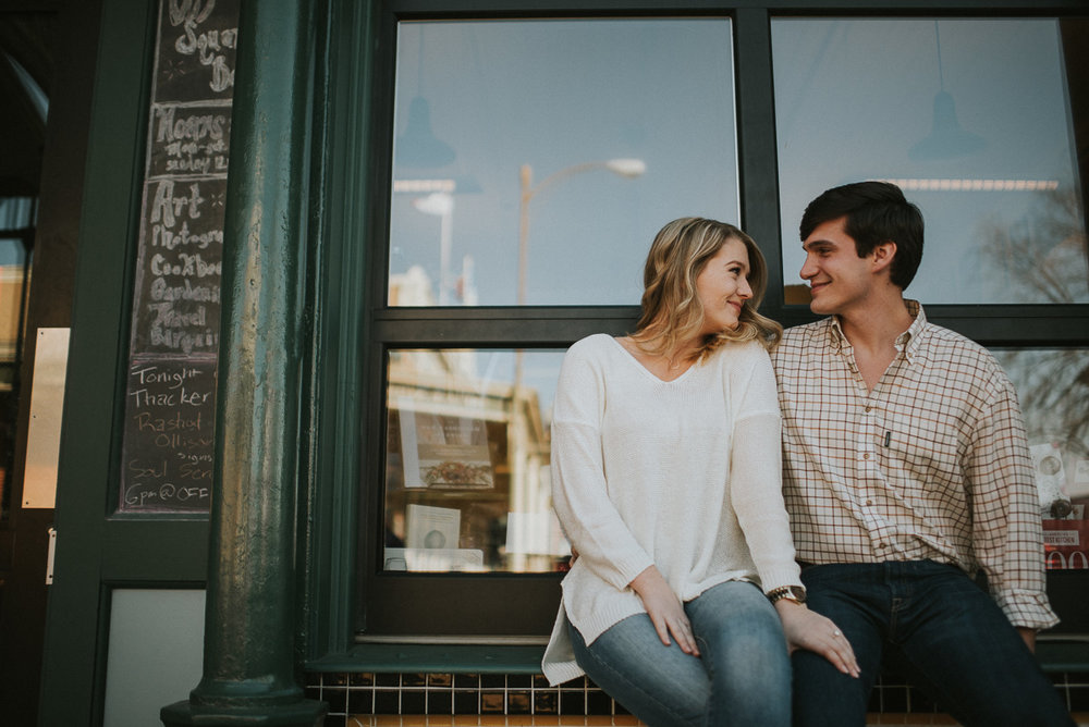Mississippi engagement photography at off square books in oxford ms