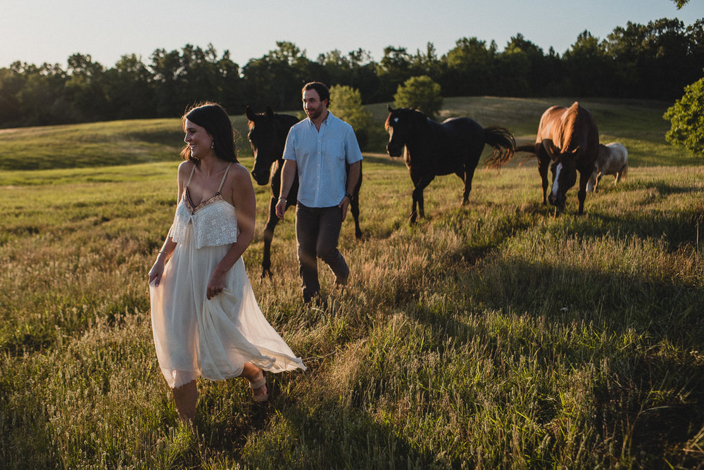 Mississippi engagement photography outside with horses