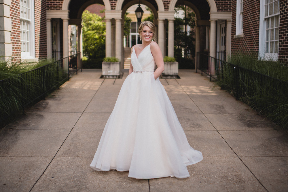 bridal wedding photography at paris yates chapel at ole miss in oxford, ms