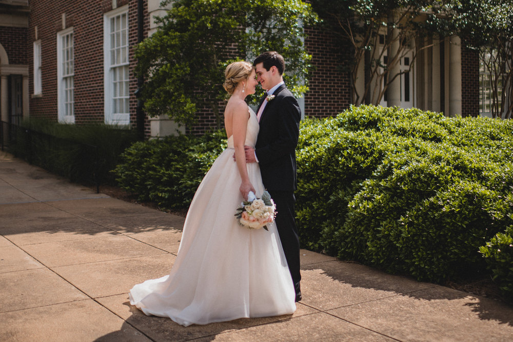 bride and groom wedding photography at paris yates chapel at ole miss in oxford, ms