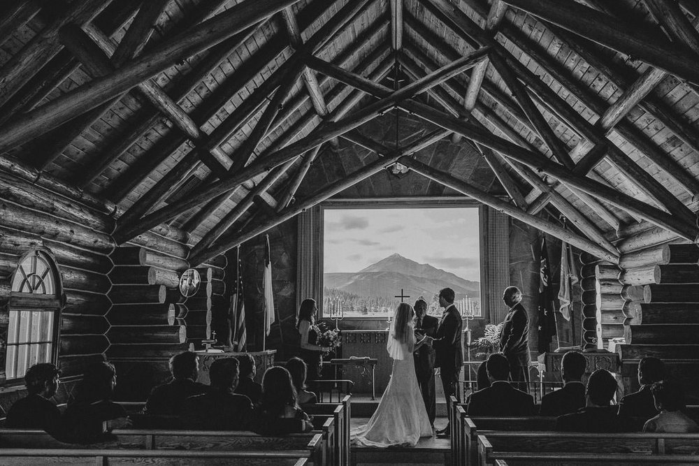 destination wedding photography at soldier's chapel in big sky montana