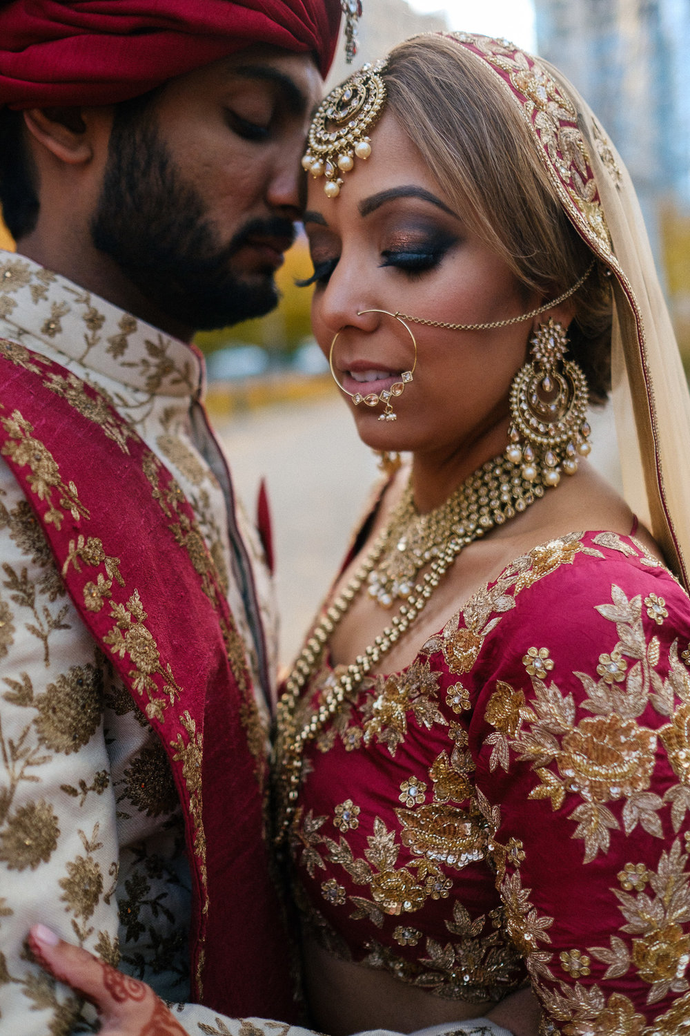couple portraits in downtown charlotte for a destination indian wedding