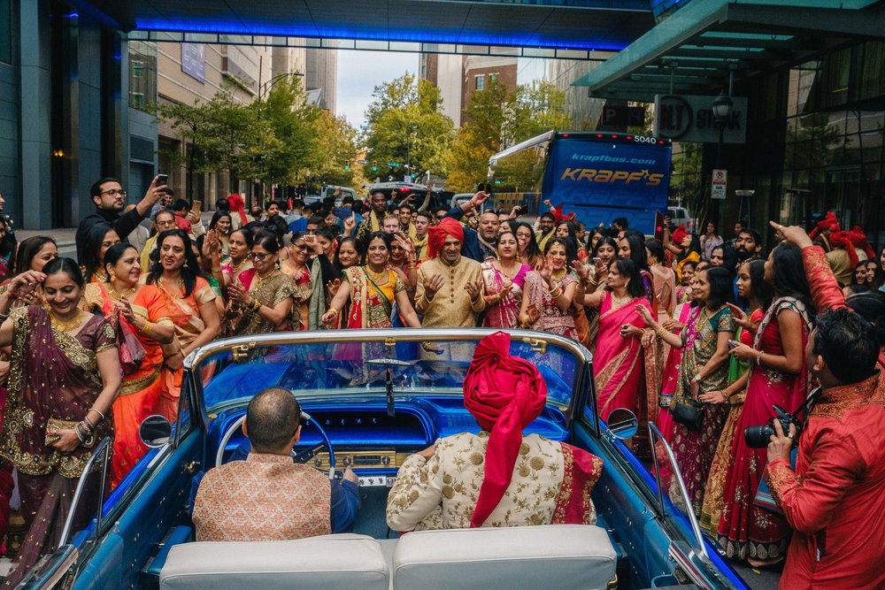 indian baraat outside ritz carlton in charlotte NC