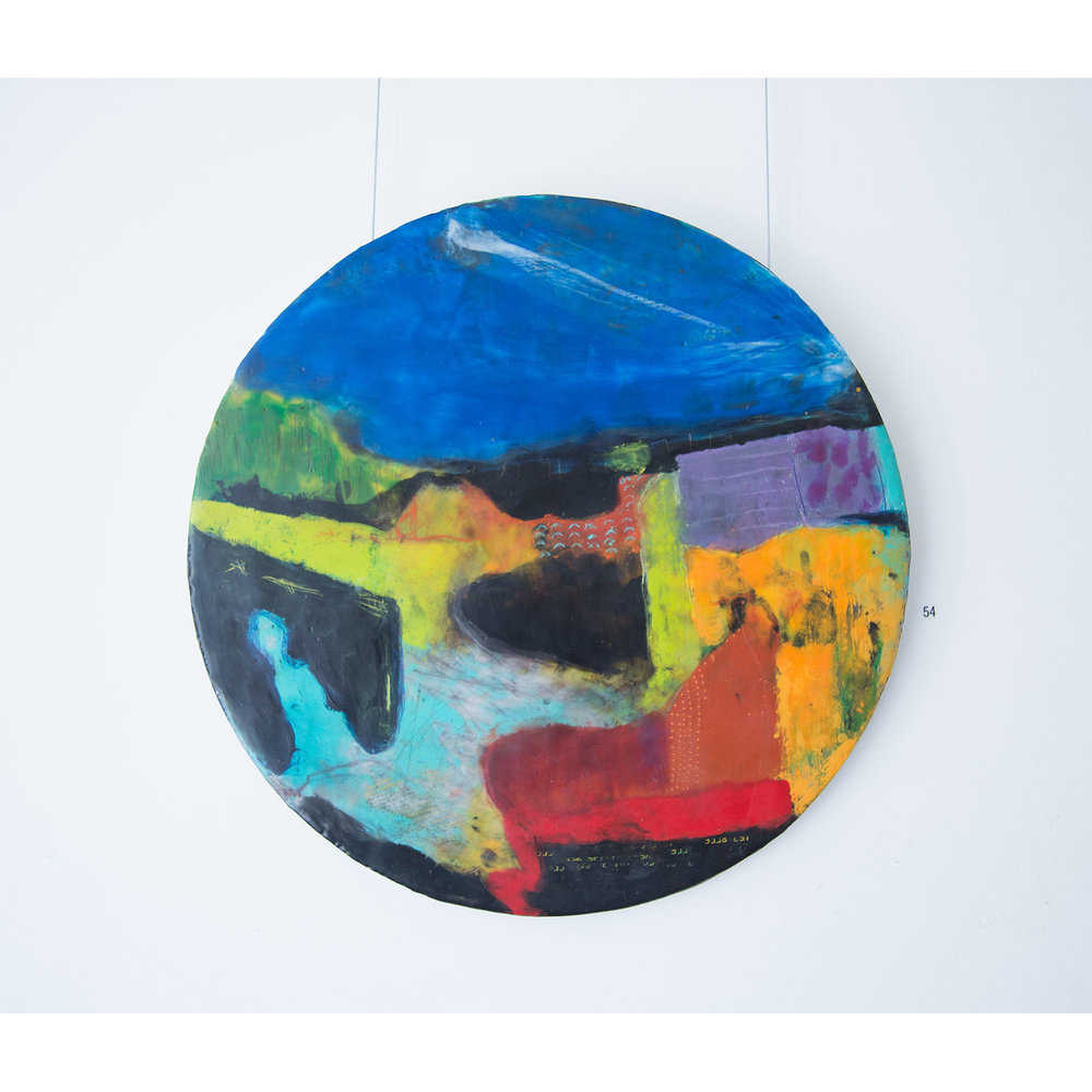 Tracking Home  Encaustic on tondo panel with copper edge, 45cm diameter   Enquire