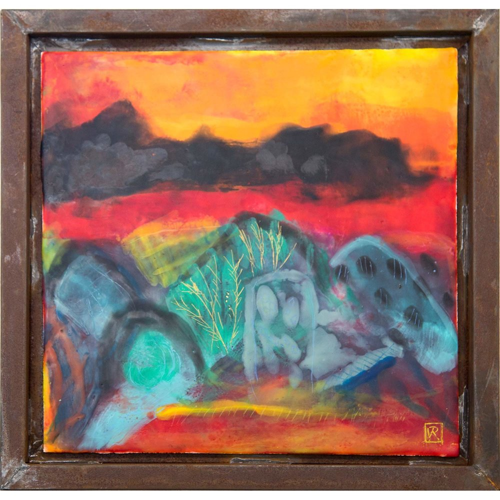 Journey to Arakoola  Encaustic on panel in rusted Mexican handmade frame, 33 x 33cm   Enquire