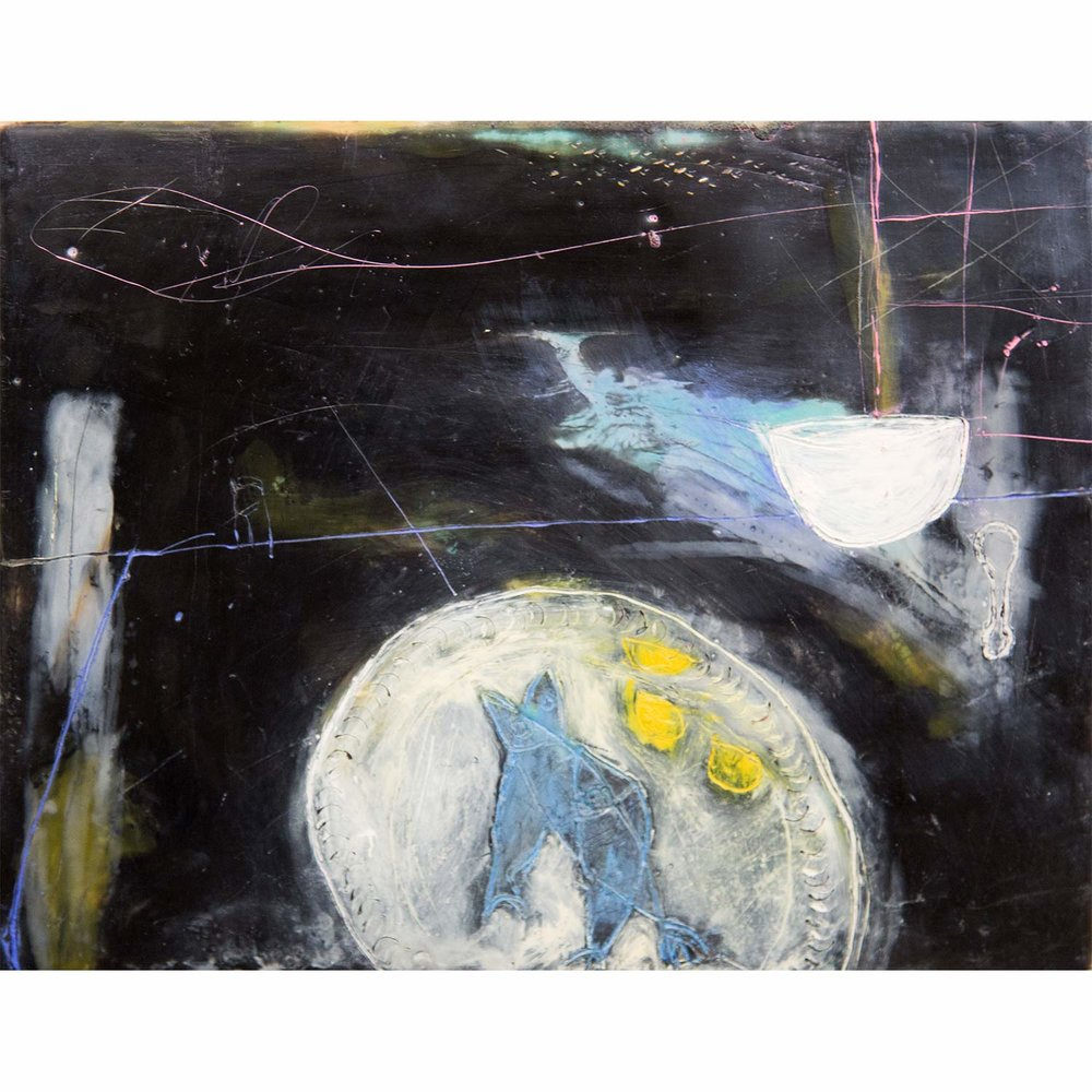 Fish on a Dish  Encaustic and mixed media on panel  SOLD
