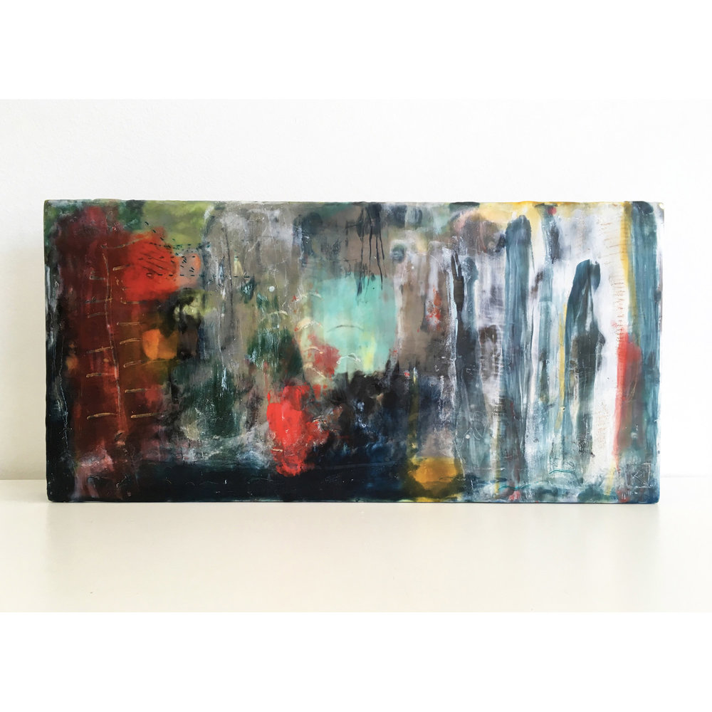 By the Light of the Silvery Moon  $540 Encaustic and mixed media on cradled birch panel, 20 x 40cm   Enquire