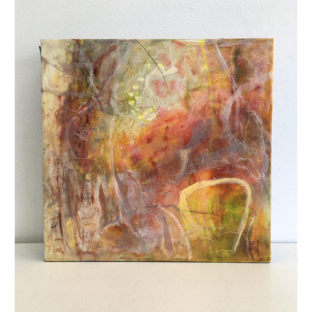 Golden Afternoon  $640 Encaustic and mixed media on cradled birch panel, 30 x 30cm   Enquire