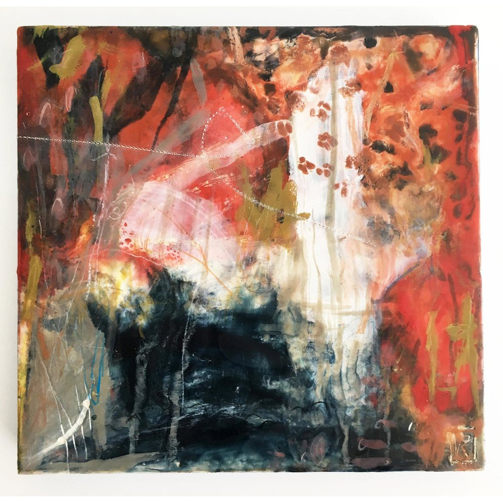 Tree Climbing  SOLD Encaustic and mixed media on cradled birch panel, 25 x 25cm   Enquire