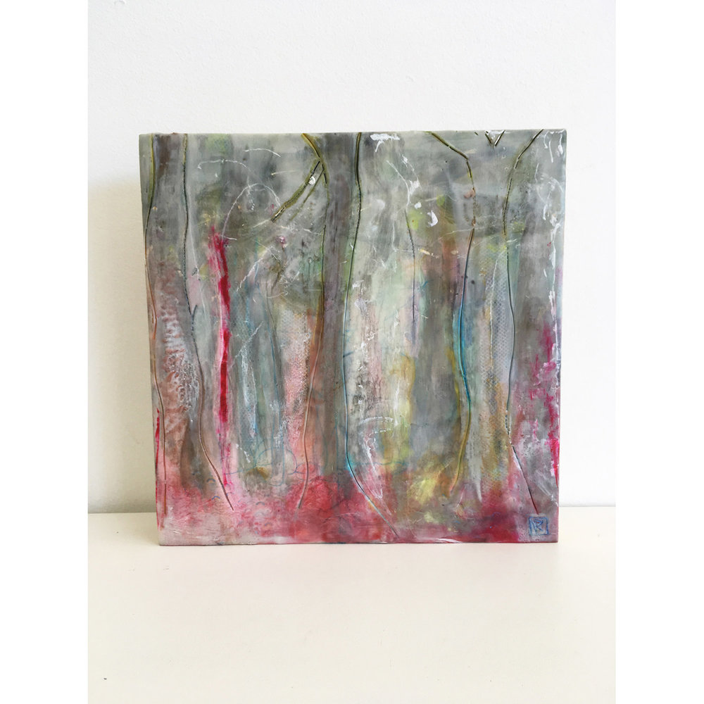Pink Light in the Eucalypts  $640 Encaustic and mixed media on cradled birch panel, 30 x 30cm   Enquire