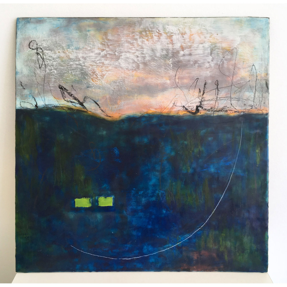 Platypus Pond I  $1,050 Encaustic and mixed media on cradled birch panel, 60 x 60cm   Enquire