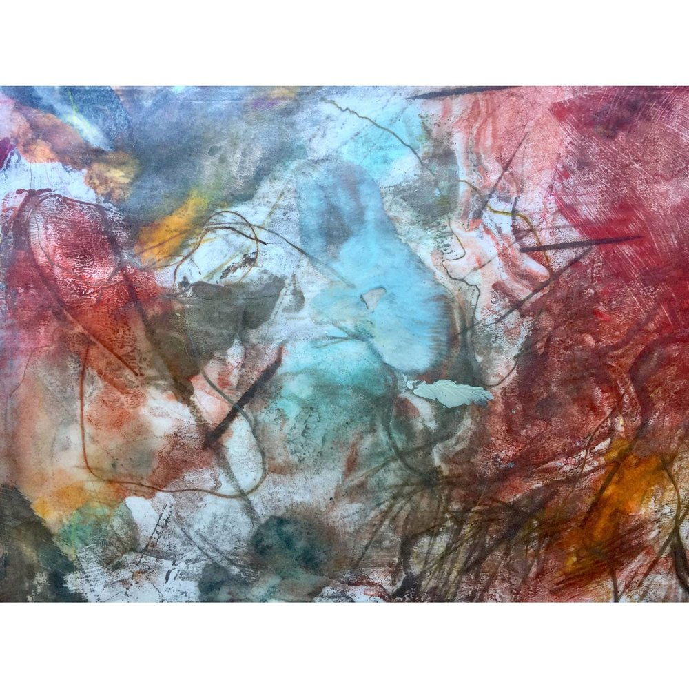 Burrowing IV  $640 Encaustic monotype on Kozo paper, mounted on cradled panel, 28 x 35cm   Enquire