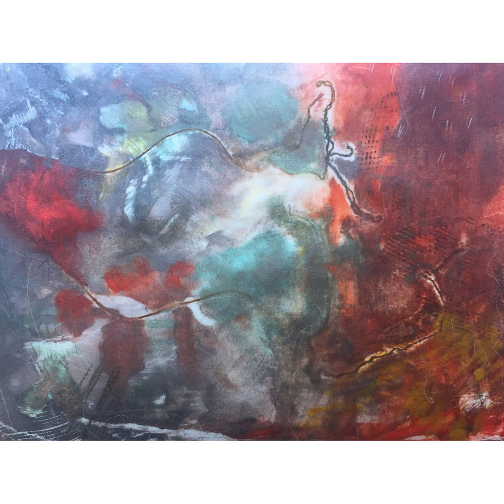 Burrowing V  $640 Encaustic monotype on Kozo paper, mounted on cradled panel, 28 x 35cm   Enquire