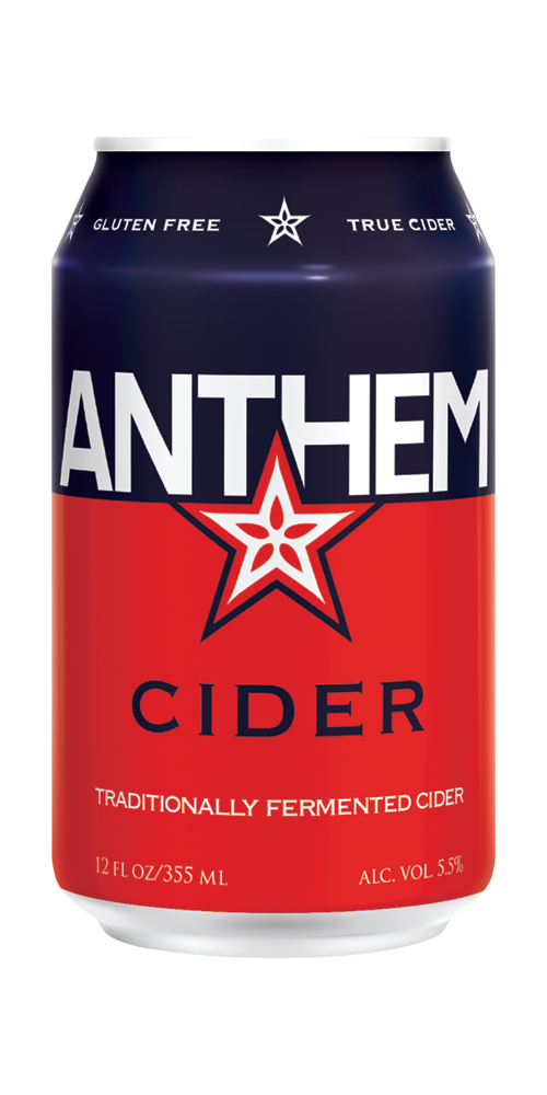 ANTHEM CIDER  - offers the tart acidity of the apple's natural malic acid with a clean fruit forward finish. Anthem Cider is the foundation for all the Anthems. SEMI-DRY ABV . . . . . . . . . . . . . . . . . . . . . . . . . . 5.5% Tartness . . . . . . . . . . . . . . . . . . . Medium CANS - 12oz/4/6 pack GLASS - 12oz/24, 22oz/12 KEGS - 1/6bbl &1/2bbl   SELL SHEET    Untapped Reviews