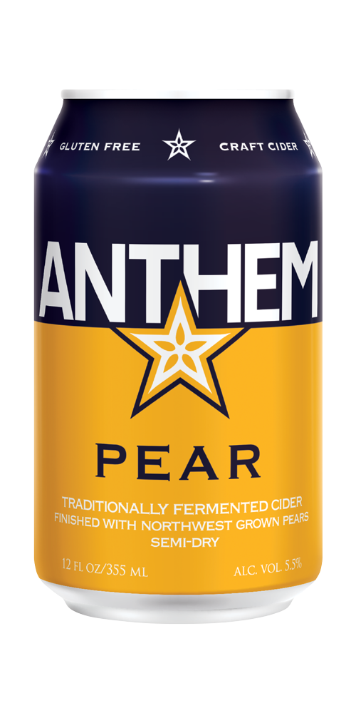 ANTHEM PEAR - Fresh pressed pears smooth Anthem Cider's acidity with a soft mouth feel and the earthy roundness only a real ripe pear provides. SEMI-DRY ABV . . . . . . . . . . . . . . . . . . . . . . . . . . 5.5% Tartness . . . . . . . . . . . . . . . . . . . . . . . Mild CANS - 12oz/6pk GLASS - 12oz/24 & 22oz/12 KEGS - 1/6 bbl & 1/2 bbl   SELL SHEET    Untappd Reviews
