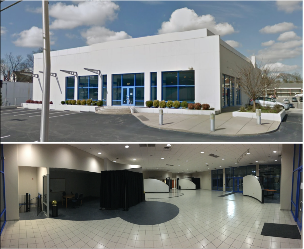 Top : exterior view of the potential Southeastern Grasslands Conservation Center.  Bottom : this upper floor will feature exhibits dedicated to Southeastern grasslands.