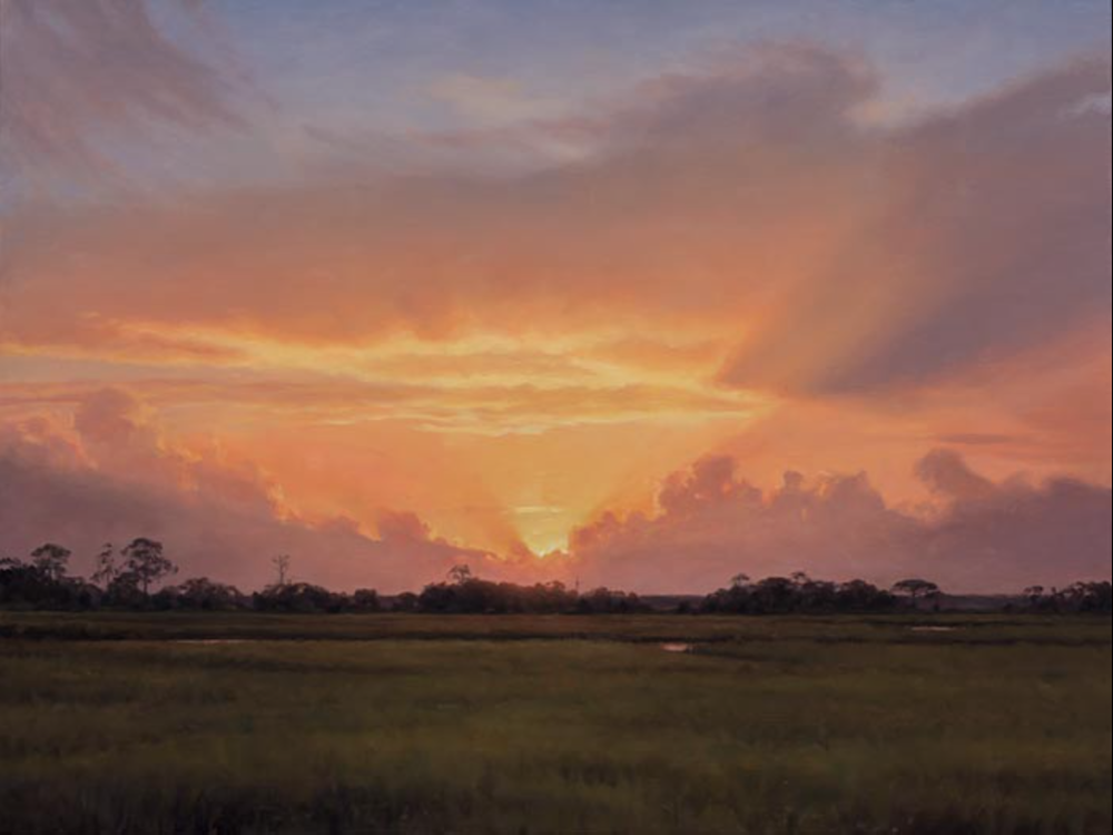Sunset Little St. Simons Island, Georgia July 19, 2017 Oil on canvas 24 x 32 in.