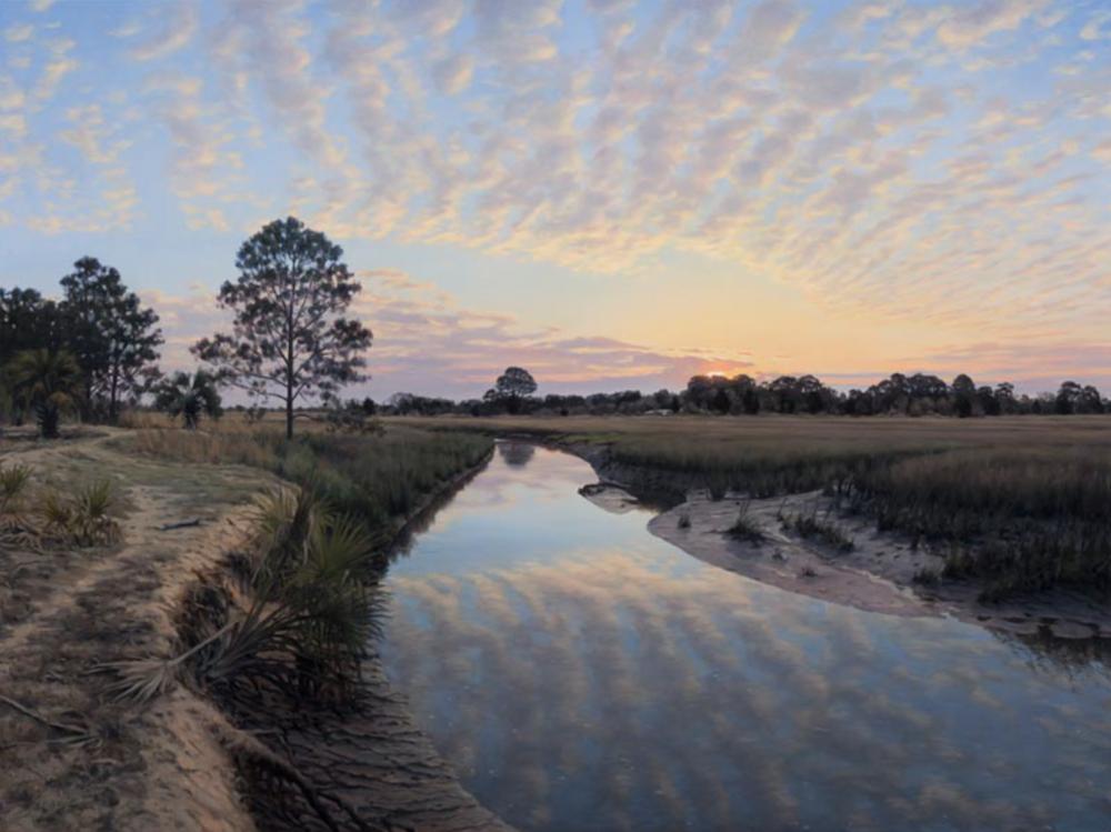 "Mosquito Creek Sunrise Little St. Simons Island, Georgia, 2014 Oil on canvas 36"" x 48"""