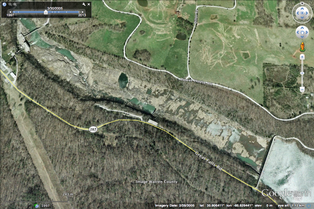 Google Earth image of the best Limestone Riverscour Glade complex probably in existence in the southeastern U.S. At lower right is Great Falls Dam. In upper left (out of scene) the river flows around a bend and then the impounded waters of Center Hill Lake are reached. This is a glimpse at what the original riverbed in this section looked like. The best glade is located at far left on the south side of the river. The northern half of the river is in White County and the southern half in Warren County, TN. Source: Google Earth.