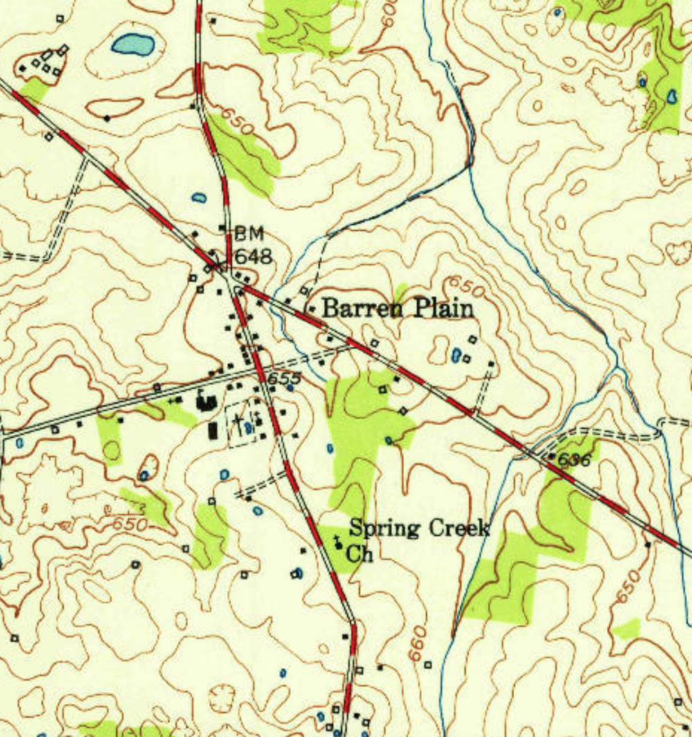 Mapping Landmarks - Place names lend important clues to historical vegetation. Many landmarks were named early in a region's history, often dating back to first settlement.Names such as Barren Plains, Prairie Creek, Price's Meadow, Pleasant View, Oak Grove, Strawberry Plains, Glade Branch, Hazel Green, Meadow Creek, and Crab Orchard refer to historical grasslands.With GIS it is now possible to query place names. Mapping these could reveal patterns to help us better understand historical locations of grasslands, especially ones not previously considered.