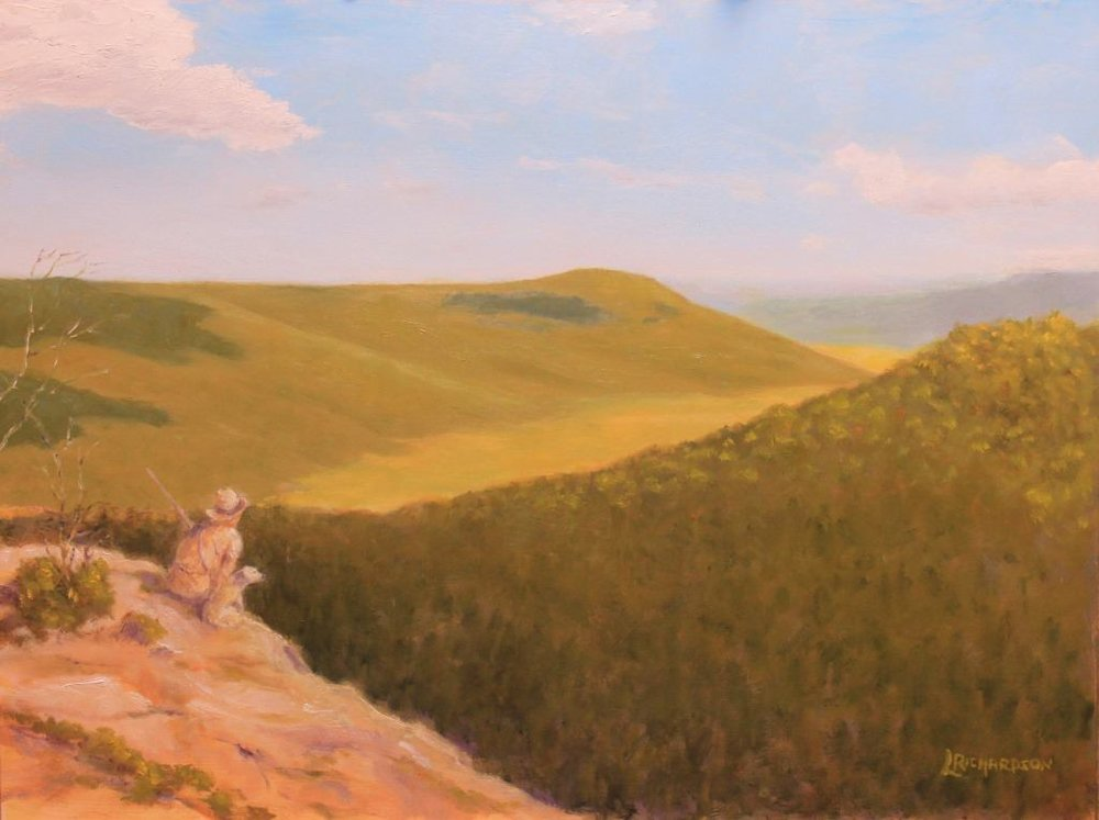A lone longhunter atop Bear Den Mountain looking across the prairie that once covered Grassy Cove, Cumberland County, Tennessee ca. 1776.  Oil on canvas by Larry R. Richardson (2017).