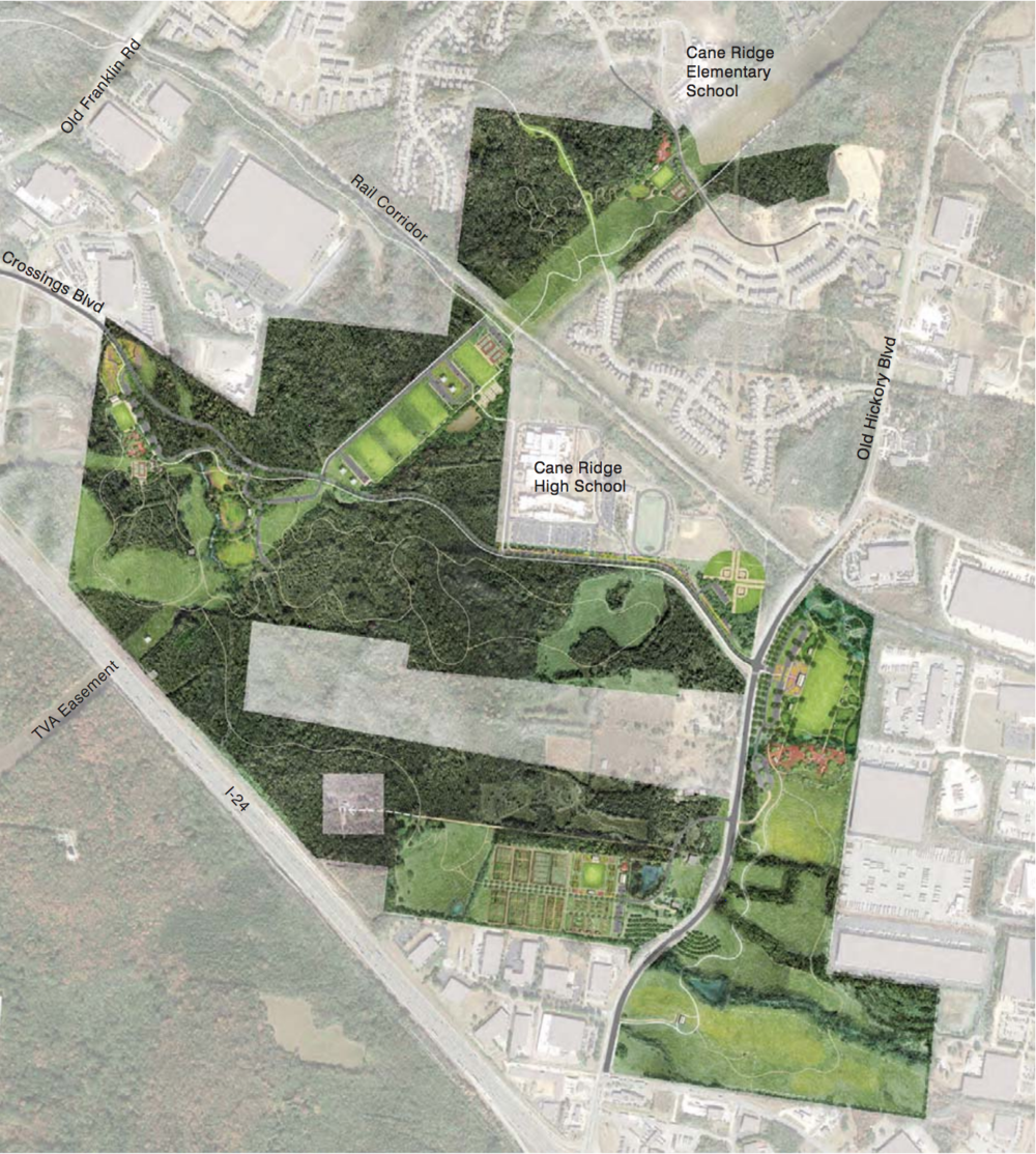 Draft map of the Southeast Park from the master plan. The southeastern portion of the park east of Old Hickory Blvd. is proposed as Phase 1.