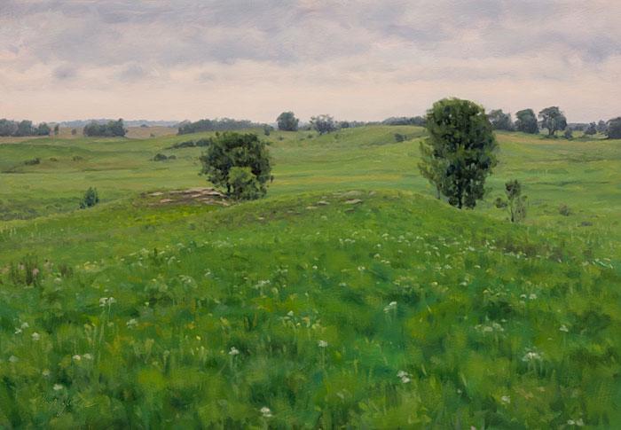Remnant View,Nachusa Grasslands, Illinois, June 12, 2018, Oil on canvas, 18 x 26 in., Philip Juras.