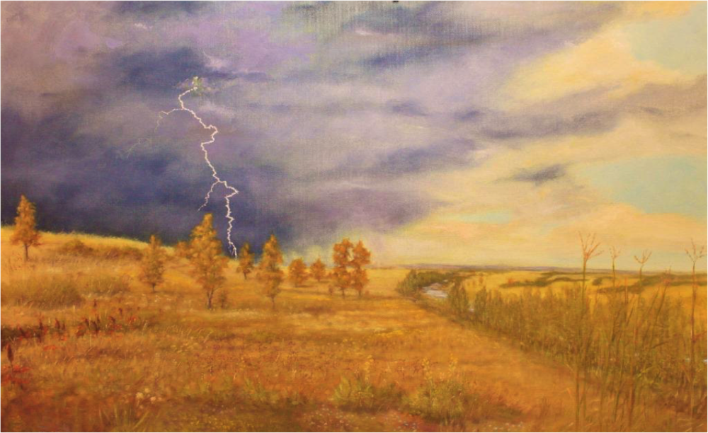 Spring Creek Meadow - circa 1796, Oil on canvas by Larry Richardson, October 2017