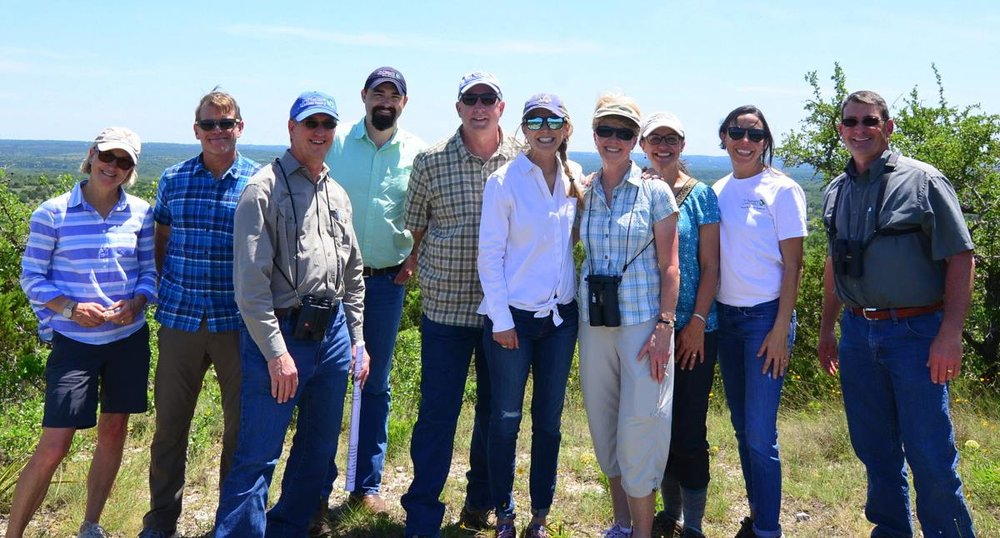 Dr. Dwayne Estes during a recent trip to meet with four philanthropists in Austin, Texas to help garner support for the Southeastern Grasslands Initiative. Four of the five are pictured here including Tracy Frist (just right of center), Carolyn Long (4th from right), Bob Ayres (3rd from left).