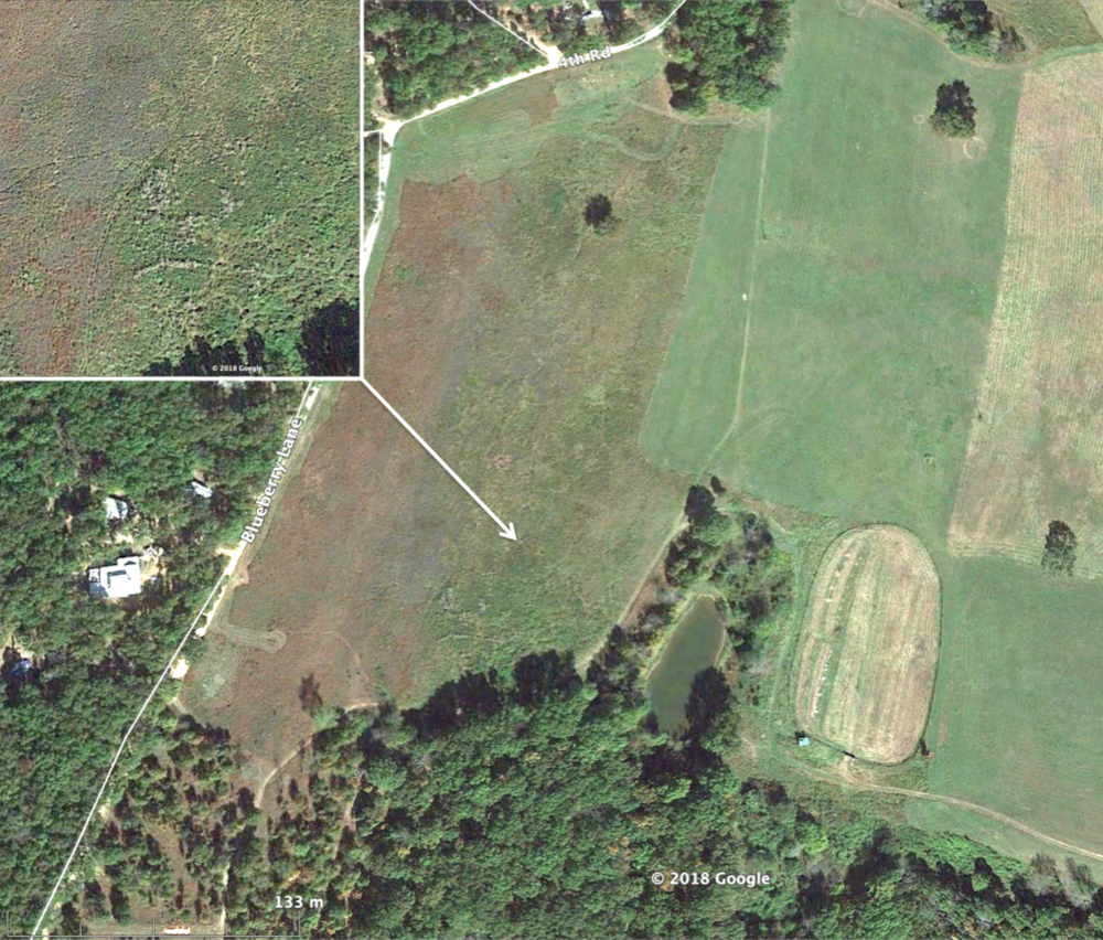 Note how prairies look different from hayfields in aerial photo