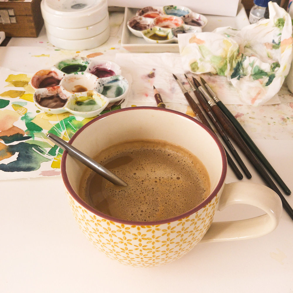 10:00 am - Oh yes, I can't start my day or my work without a big cup of damn good coffee. But I should be careful that i don't clean my brushes in it ^_^⠀