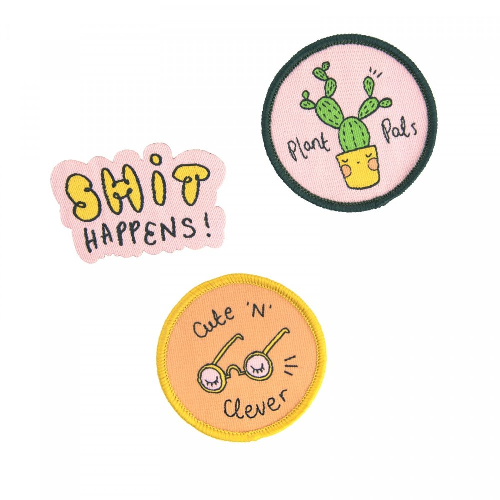 ARDEN ROSE SHIT HAPPENS WOVEN PATCH SET - Set of 3 iron-on patches to bring any bag/garment into a next level of cuteness! Perfect for:- The one who loves accessorizing- The Cute Friend- The Plant Lover- The Book Nerd