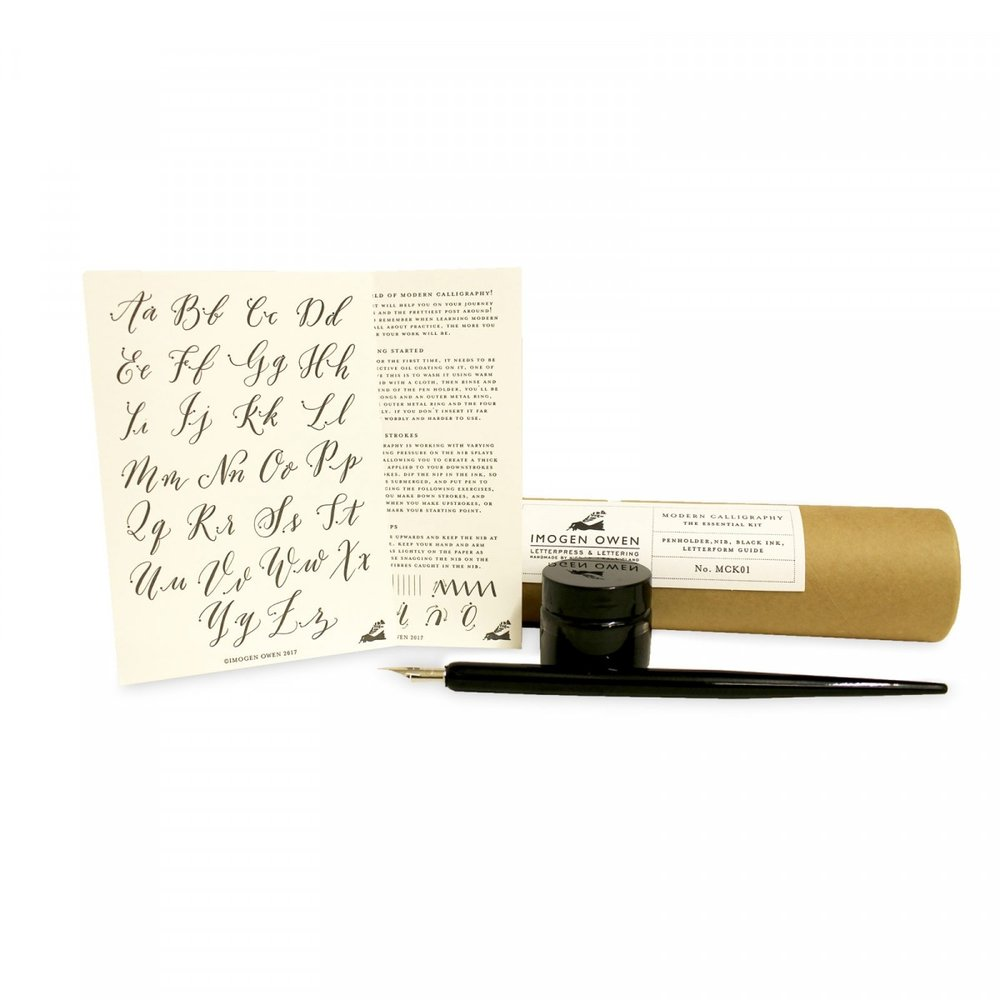 MODERN CALLIGRAPHY ESSENTIAL KIT - This is the perfect gift to teach someone something new! Each piece has been made beautifully, and has everything you need to learn to write beautiful words! Go calligraphy crazy.
