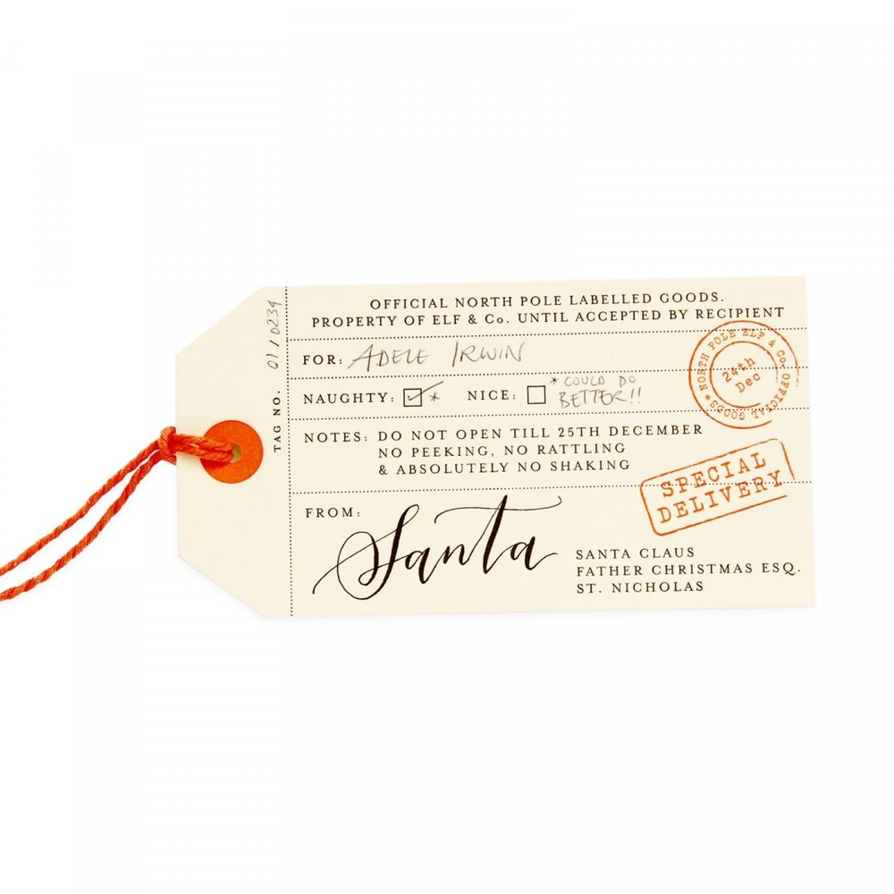LUXURY SANTA TAGS - Now these are the perfect accessory to finish off your Christmas present! These gorgeous letterpress gifts tags are signed by Santa himself.