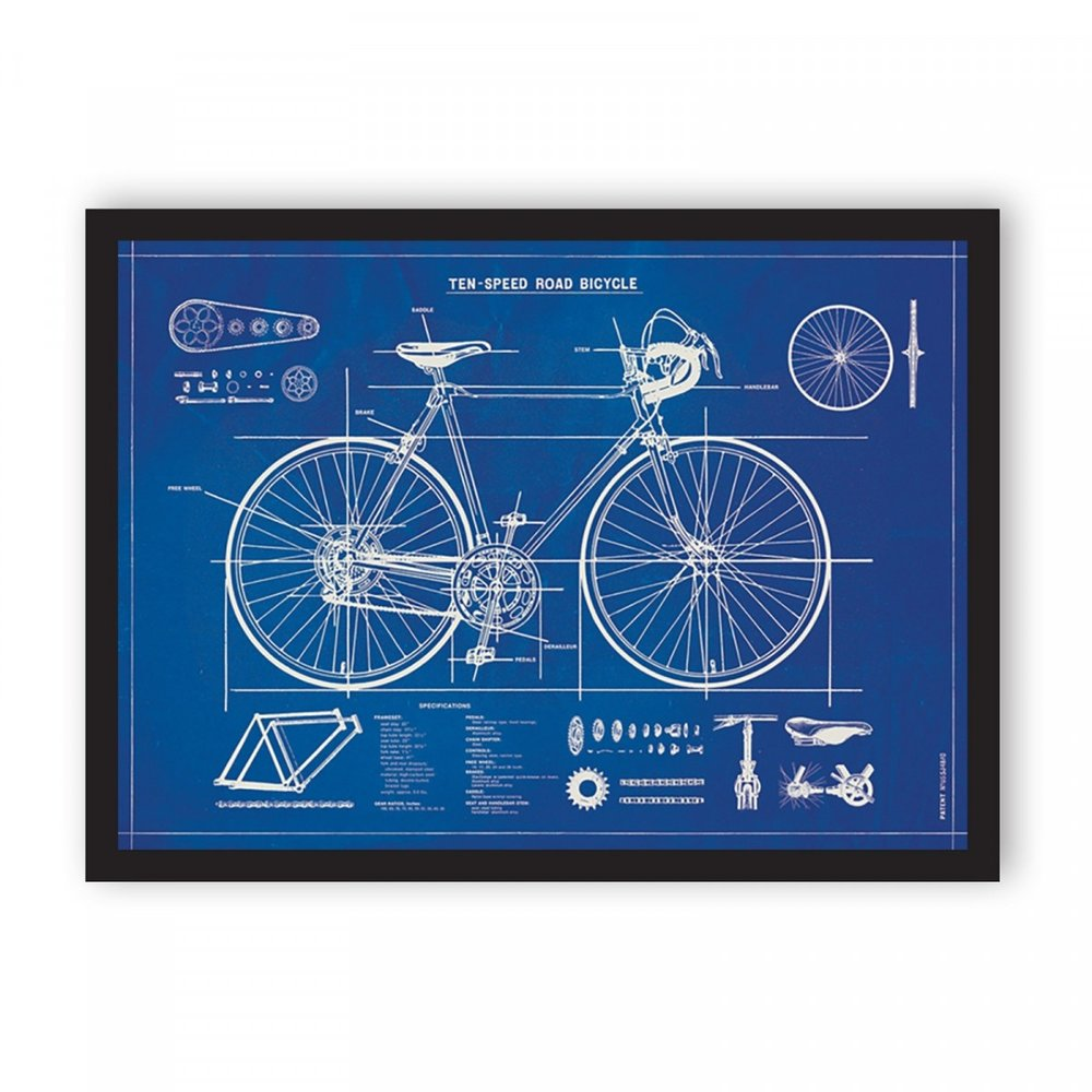 BICYCLE BLUEPRINT ART PRINT - Life is but a beautiful ride. Feed his cycling obsession with this pretty cool art print!