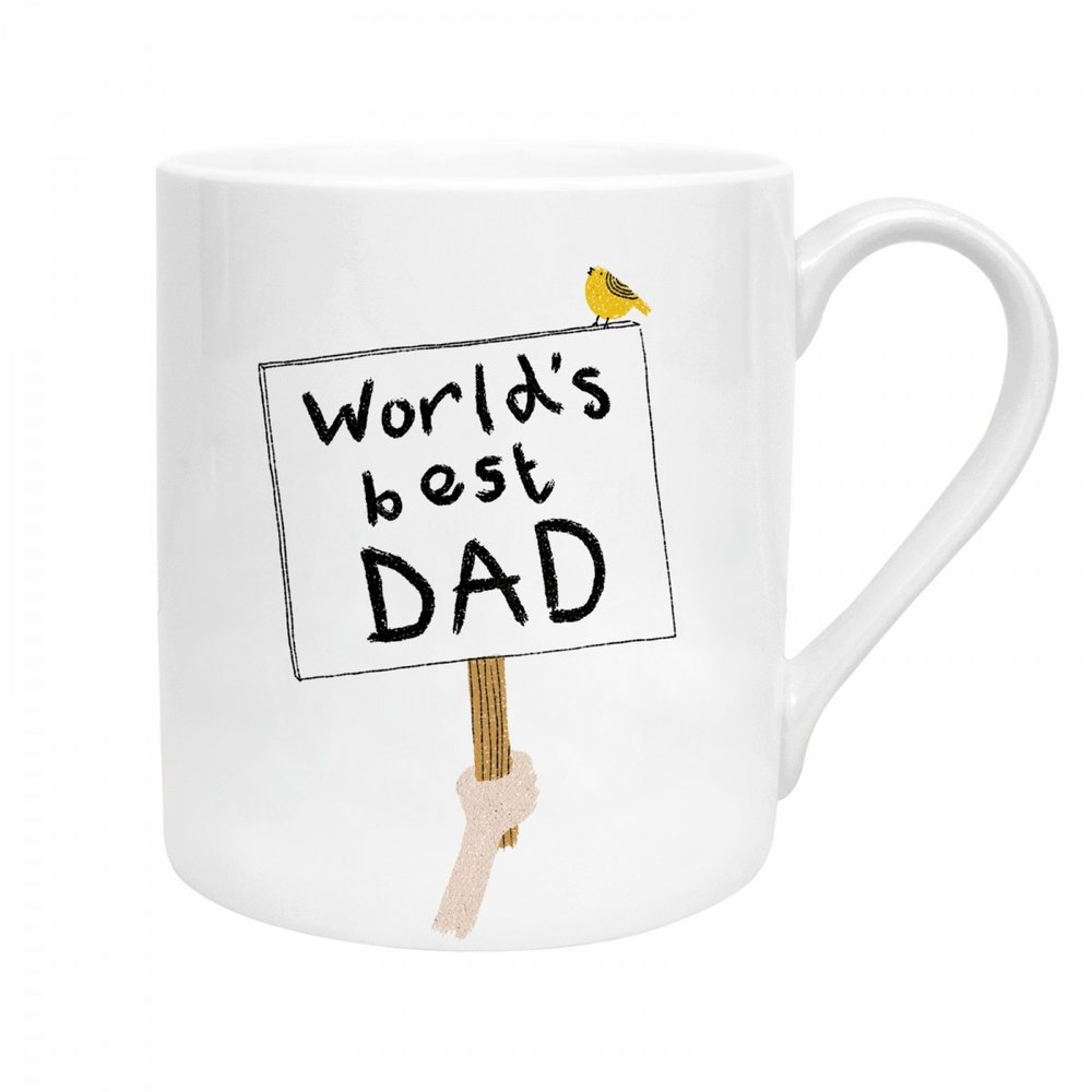 WORLD'S BEST DAD SIGN MUG - Give him a morale boost with a very nice mug indeed! He can drink his tea and take on the day of Dad!