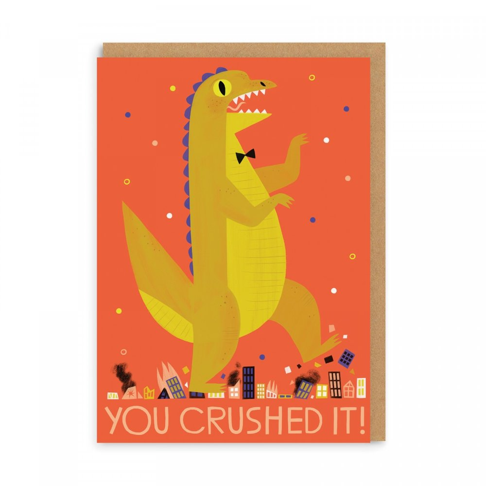 YOU CRUSHED IT! GREETING CARD - 3 (or maybe 4) years over and out! It was tough but boy they did good! Also this lil dino is wearing a dickie-bow, so why wouldn't you want this card?!