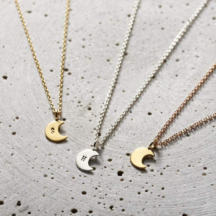 PERSONALISED CRESCENT MOON NECKLACE - This beautiful personalised necklace is a wonderful gift for your mum this mothers day. For a truly unique touch, this necklace can be personalised with an initial. These are handmade in Posh Totty's Brighton workshop so take approximately 8 working days to arrive. So order now!!