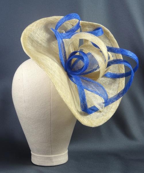 large fascinator hat royal blue cream natural.JPG
