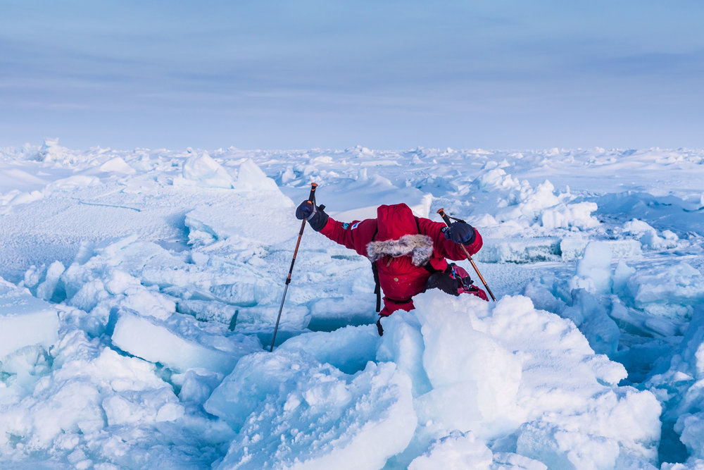 Phil Hayday-Brown traversing rough sea ice on the way to the Geographic North Pole.