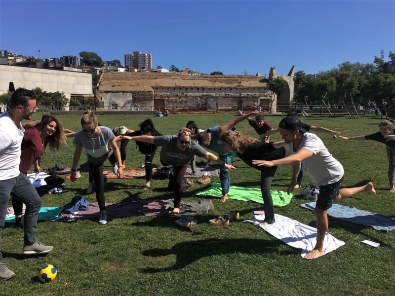 Acrobatic yoga
