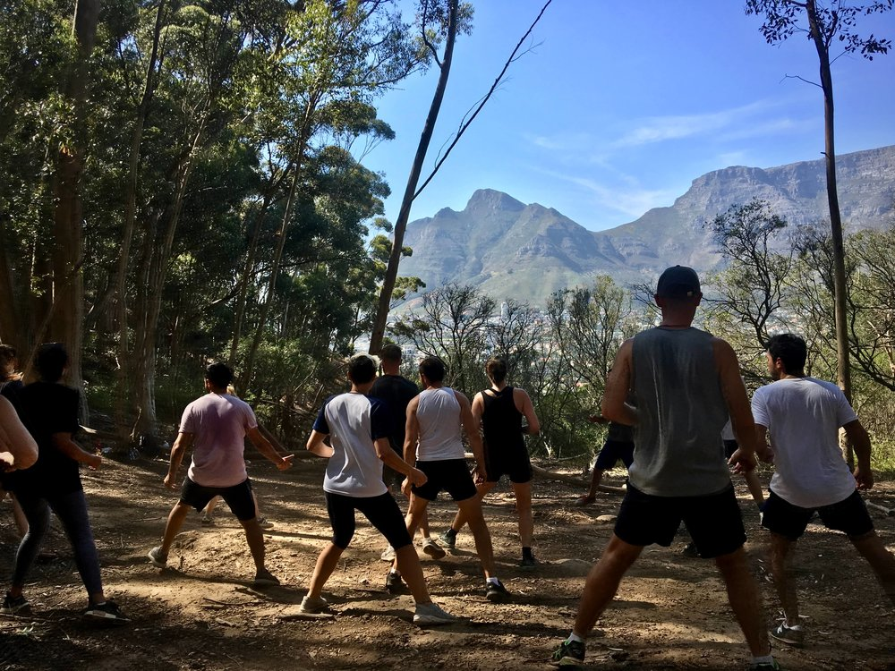 Our Africa tribe getting their physical limits tested with a bootcamp up in the mountains.
