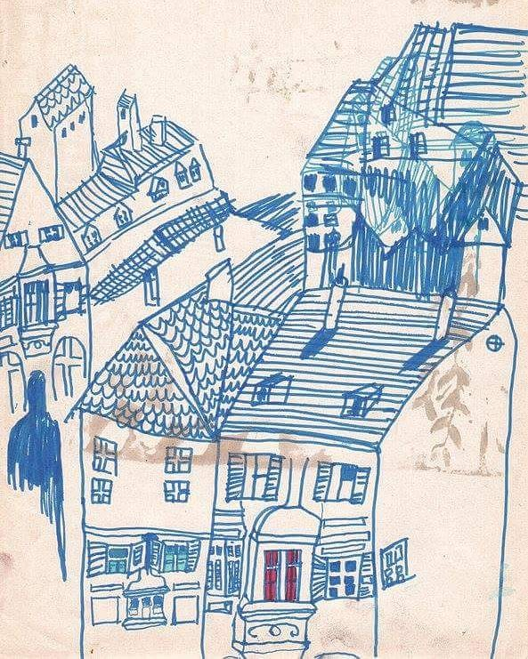 Oldie, www.emilythilly.com for more work! 🐒🐷🐧#website #illustration #emilythillyillustration #houses #town #drawing #art #site