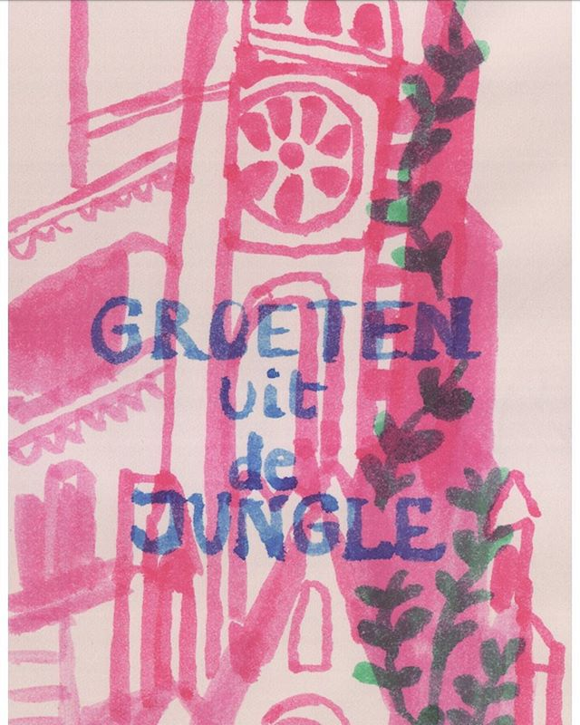 Groeten #jungle #postcard #cathedral #greetings #illustration