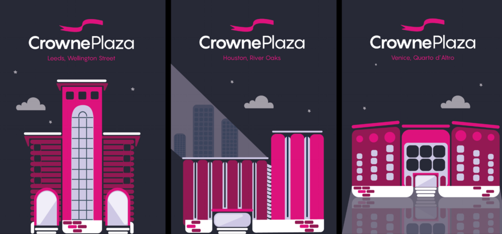 Illustrations of the different Crowne Plaza hotels