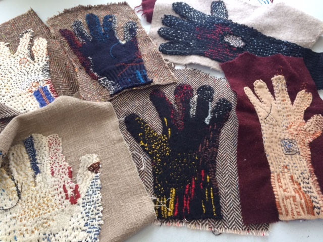 Embroidered work gloves, a few of many